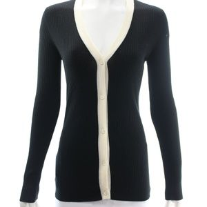 PRADA BLACK WOOL CARDIGAN WITH IVORY TRIM SIZE 8